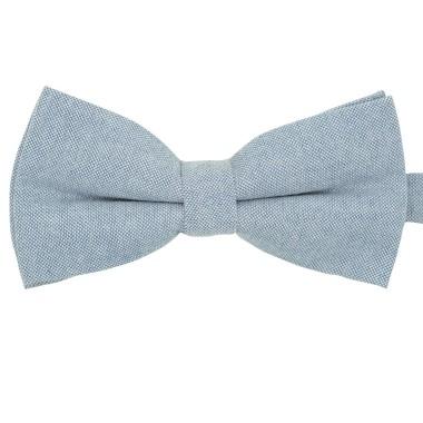 Noeud papillon pastel uni Bleu gris. En Coton