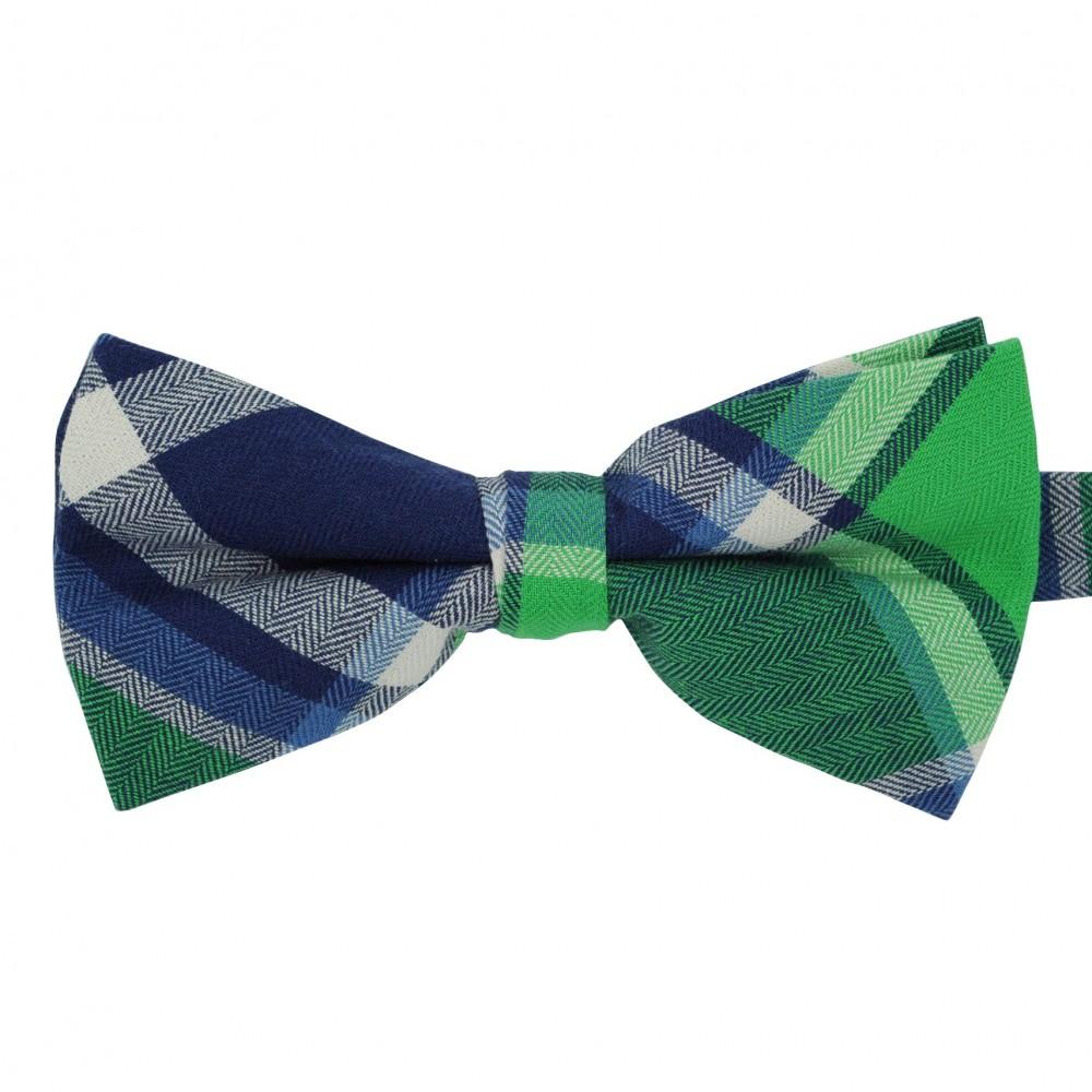 Noeud papillon à carreaux écossais Bleu et Vert