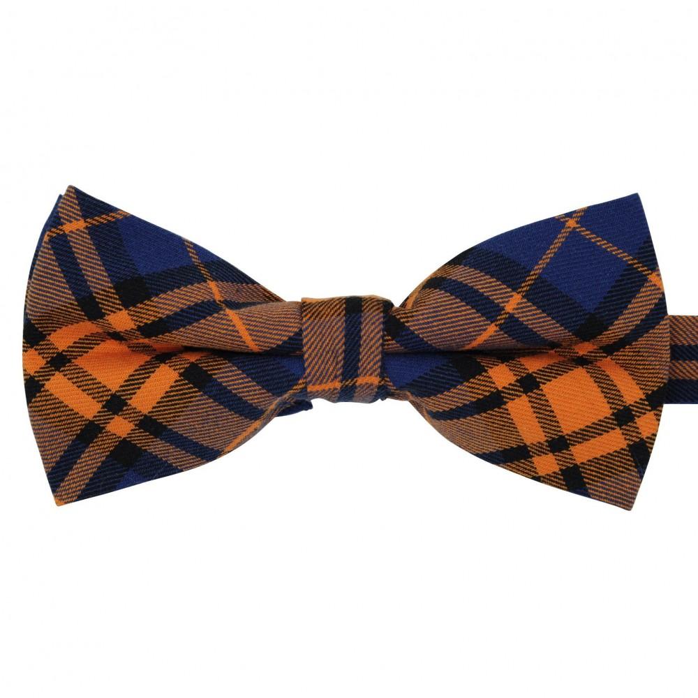 Noeud papillon à carreaux écossais Marine et Orange