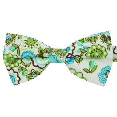 Noeud papillon 'Liberty' Turquoise grandes fleurs