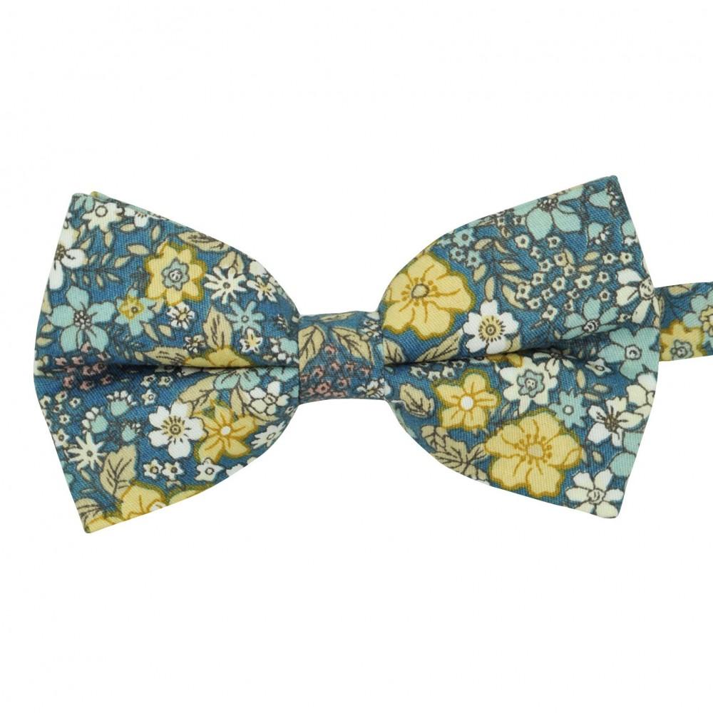 Noeud papillon 'Liberty' Bleu à petites fleurs jaunes