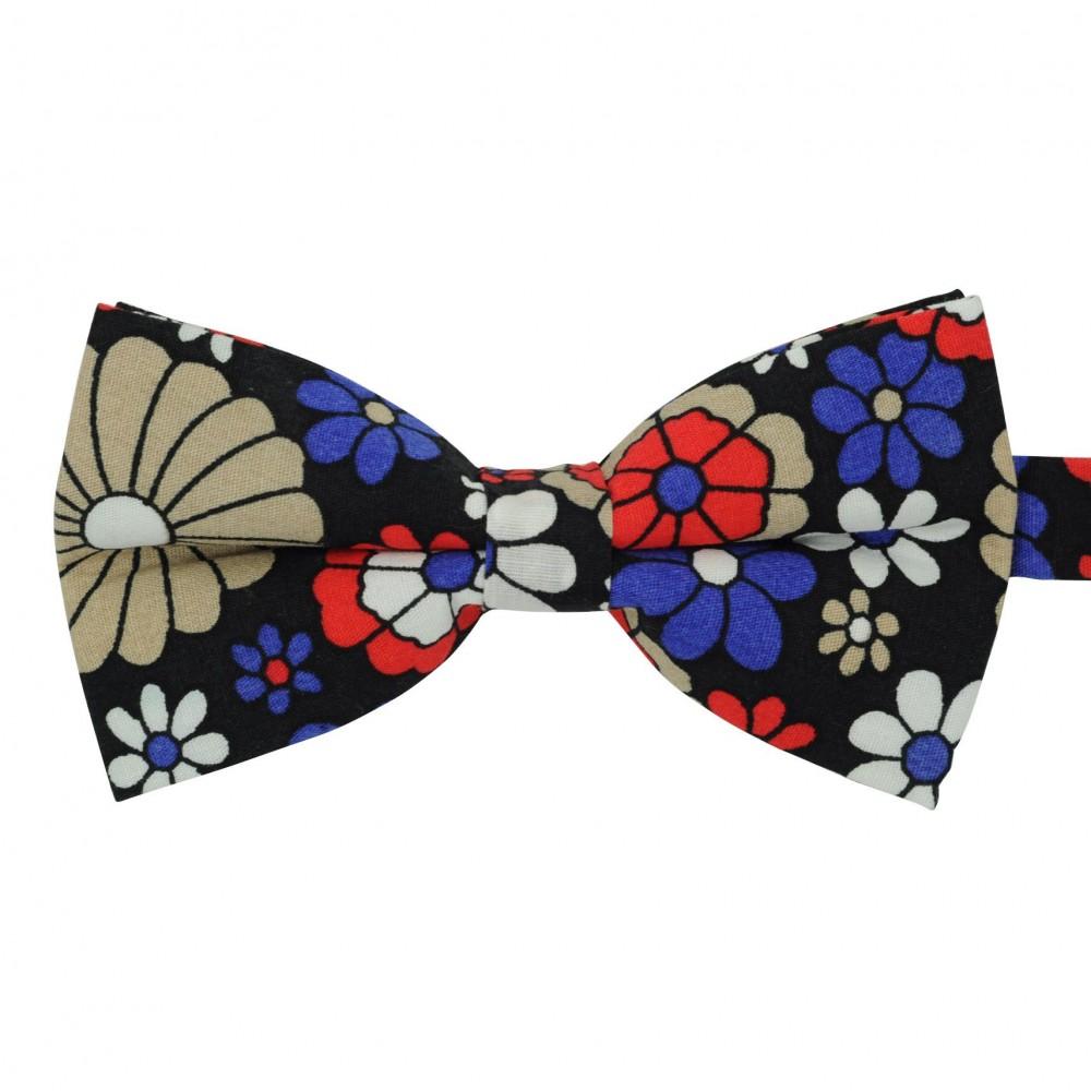Noeud papillon 'Liberty' Noir à grandes fleurs