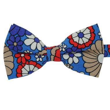 Noeud papillon 'Liberty' Bleu à grandes fleurs