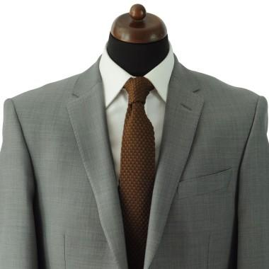 Cravate tricot pour homme. Marron uni. Grosse maille.