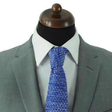 Cravate tricot pour homme. Bleu roi. Chiné.