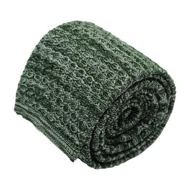 Cravate tricot pour homme. Vert. Chiné.