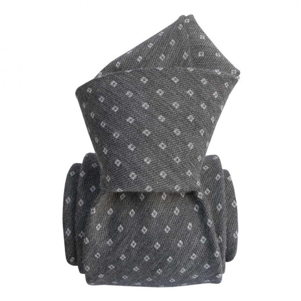 Cravate Classique soie/coton. Gris à motifs carrés