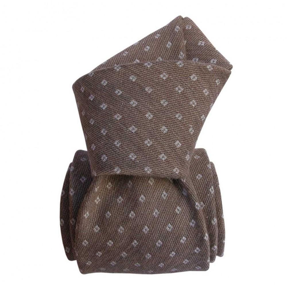 Cravate Classique soie/coton. Taupe à motifs carrés