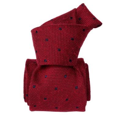 Cravate Classique en Soie Bourette. Rouge à pois