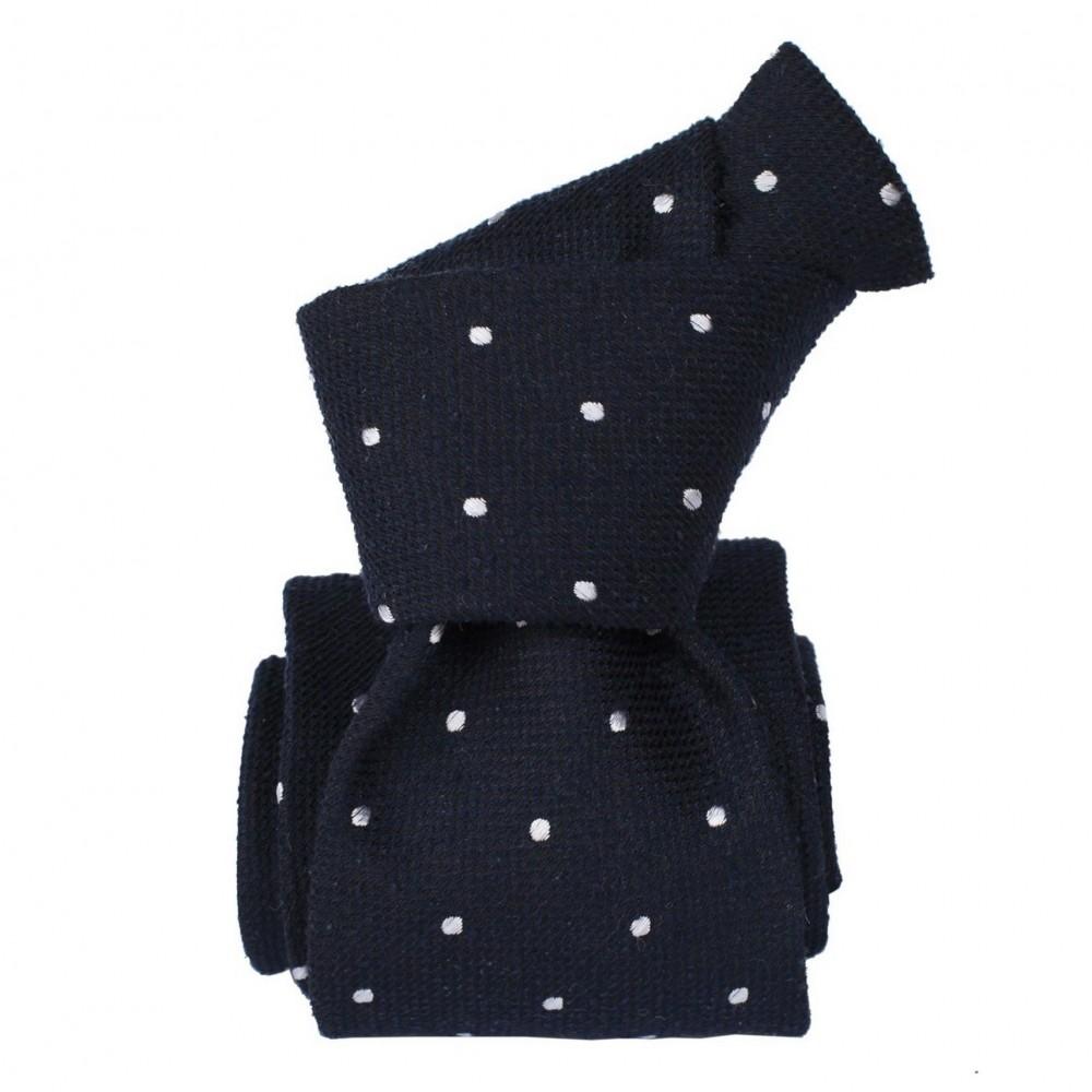 Cravate Classique en Soie Bourette. Bleu marine à pois