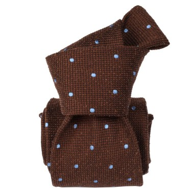 Cravate Classique en Soie Bourette. Marron à pois