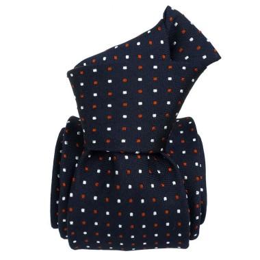 Cravate de Luxe Bleu marine à pois blanc/orange