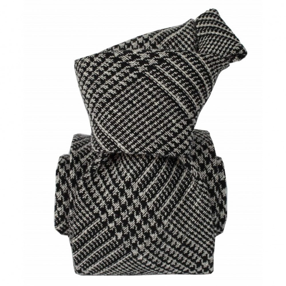 Cravate Classique style Tartan Gris et Marine en soie bourette