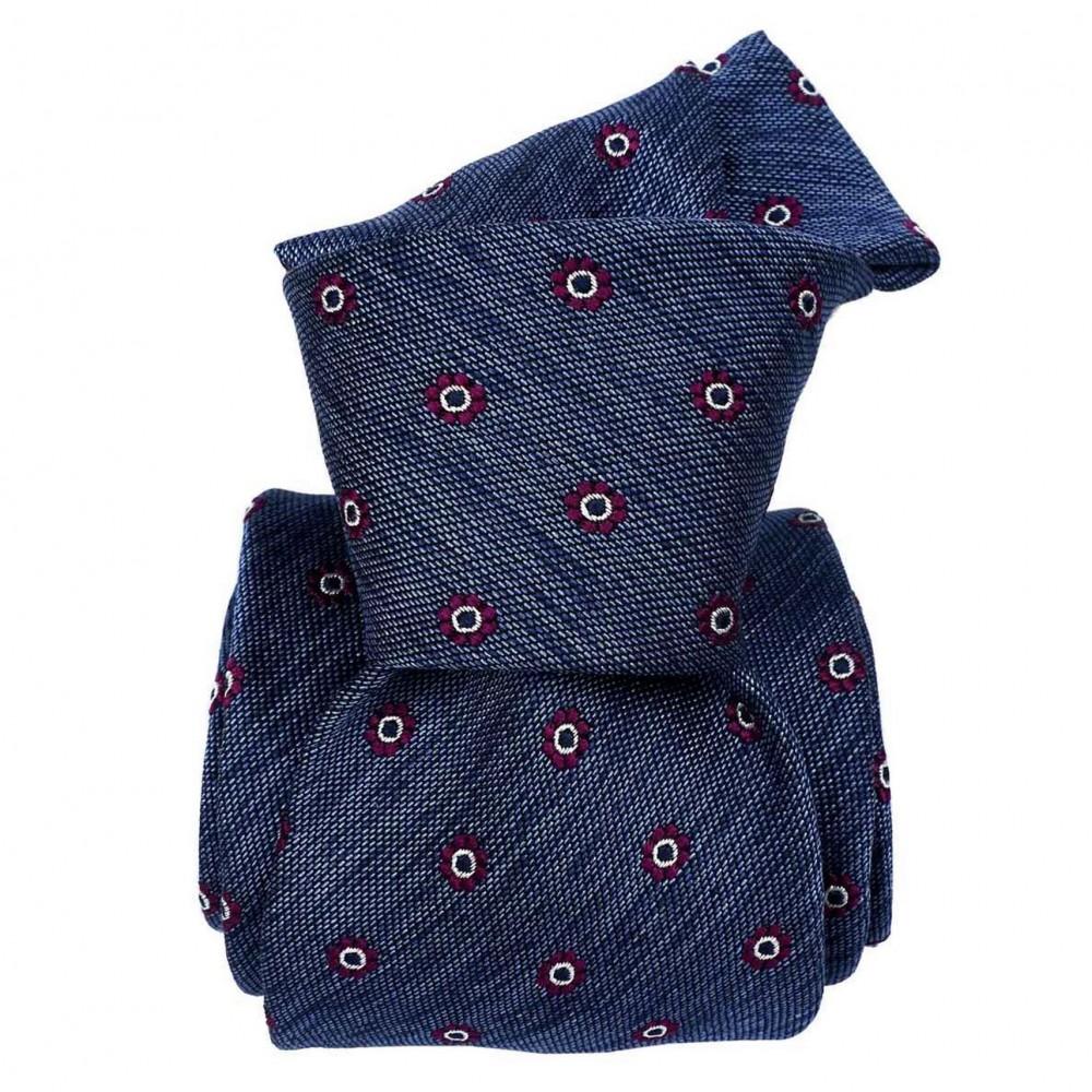 Cravate Classique soie/coton. Bleu à motif floral