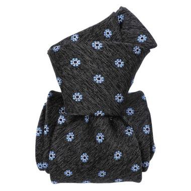 Cravate Classique soie/coton. Gris à motif floral