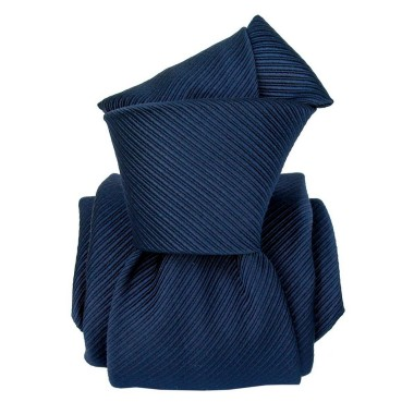 Cravate de Luxe 6-Plis. Bleu Marine, soie Mogador