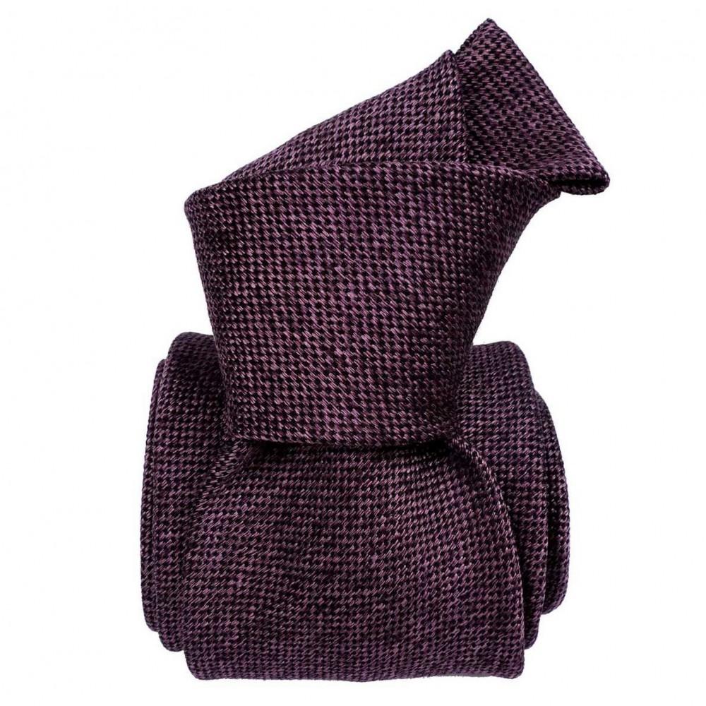 Cravate Classique soie/coton uni. Aubergine chiné