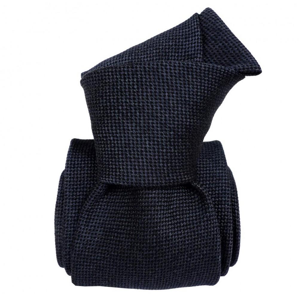 Cravate Classique soie/coton uni. Bleu marine chiné