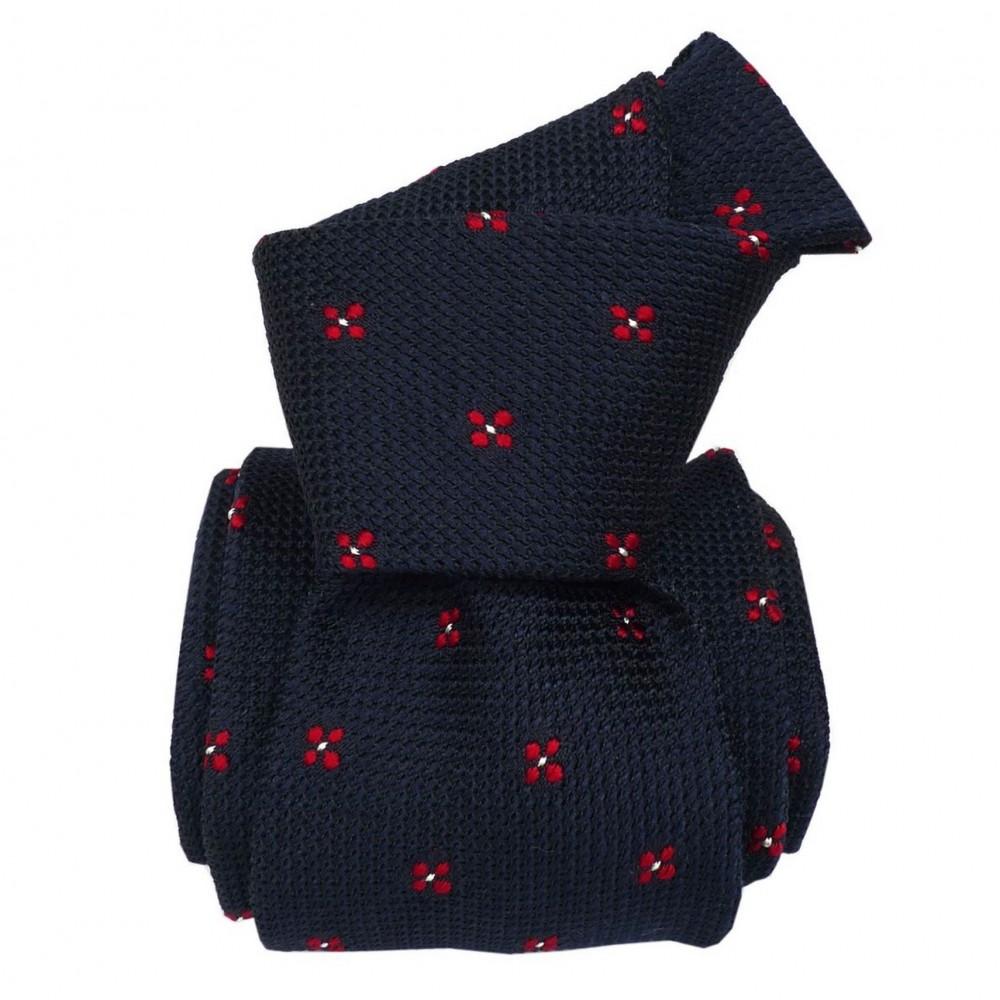 Cravate en grenadine de soie. Bleu marine à motifs carrés