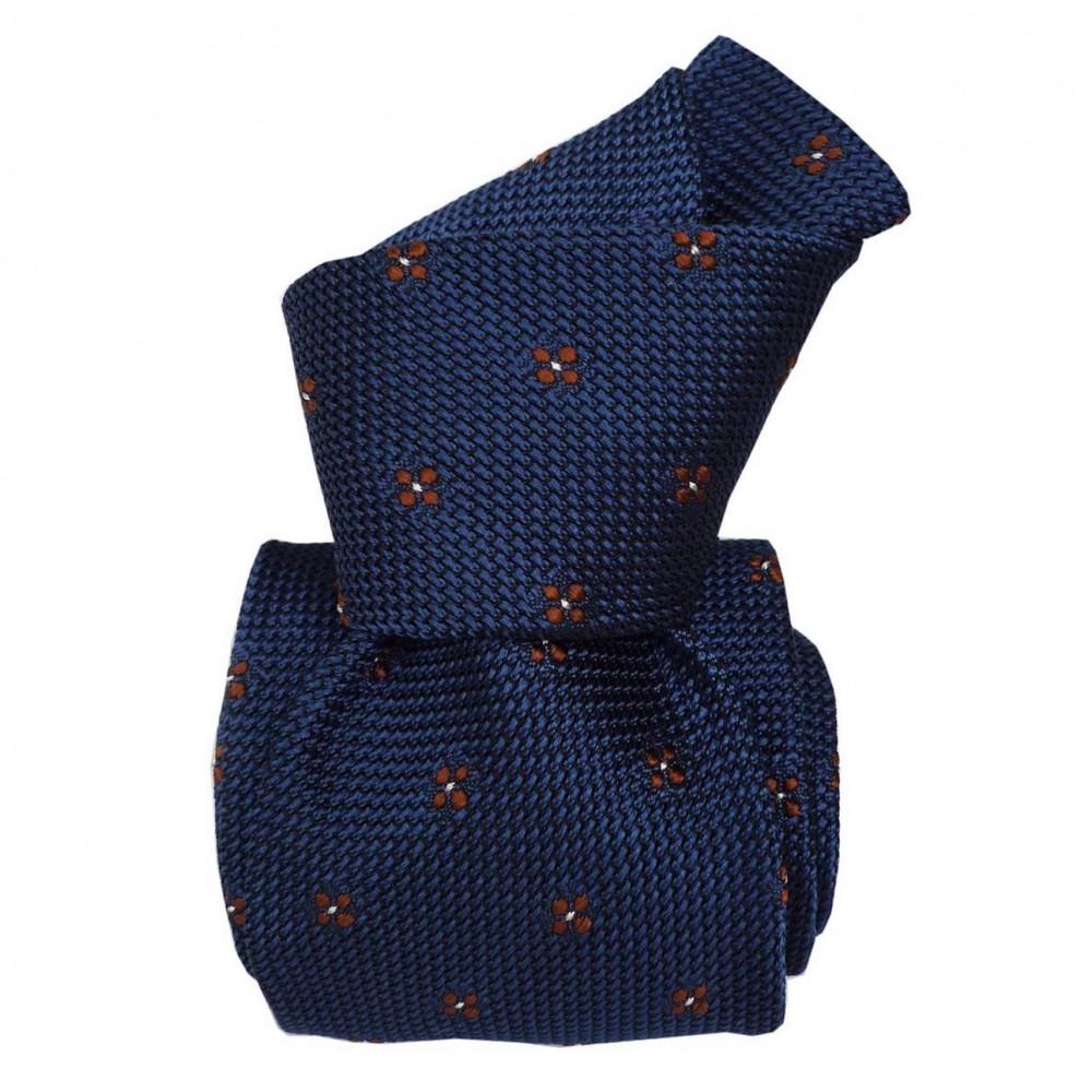 Cravate en grenadine de soie. Bleu à motifs carrés