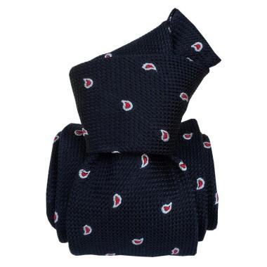 Cravate en grenadine de soie. Bleu marine à motifs Paisley