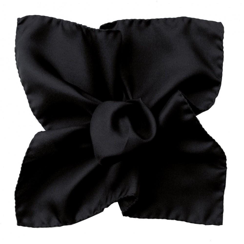 Pochette de costume Noir uni en Soie Twill