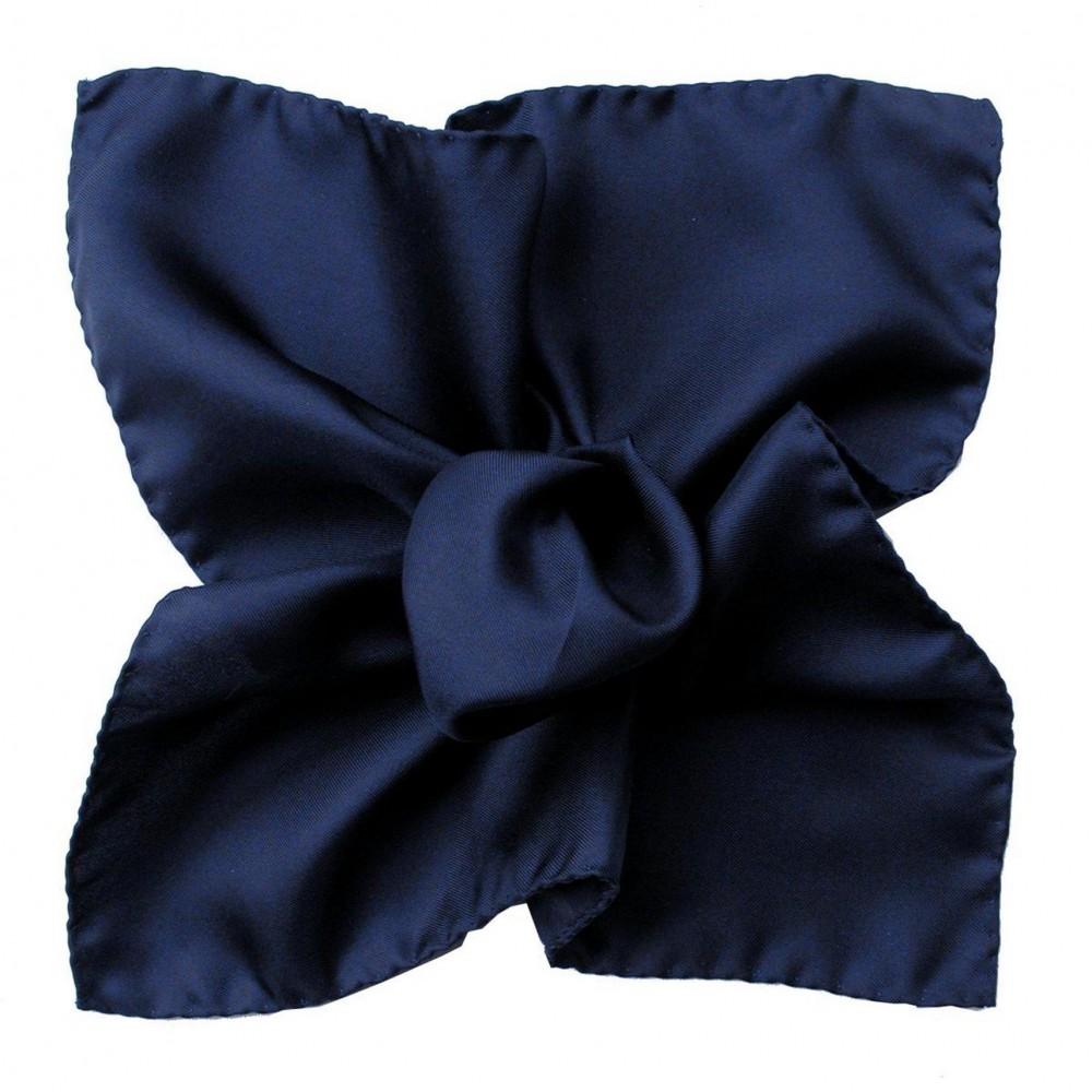 Pochette de costume Marine uni en Soie Twill