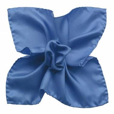 Pochette de costume Bleu uni en Soie Twill