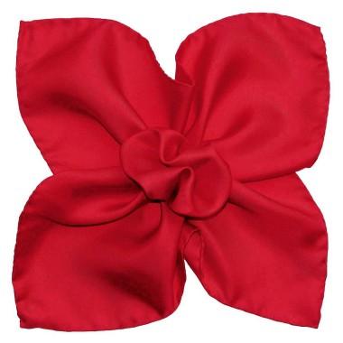 Pochette de costume Rouge vif uni en Soie Twill