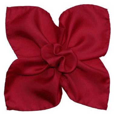 Pochette de costume Rouge foncé uni en Soie Twill
