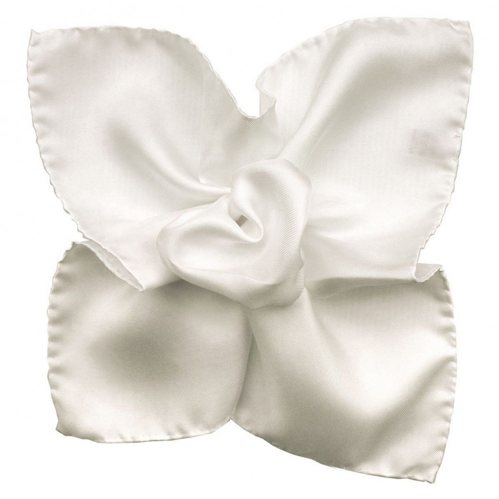 Pochette de costume Blanc uni en soie Twill