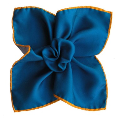 Pochette de costume Bleu indigo à liseré Jaune
