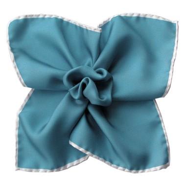 Pochette de costume Bleu canard à liseré blanc