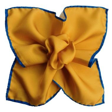 Pochette de costume Jaune safran à liseré Bleu
