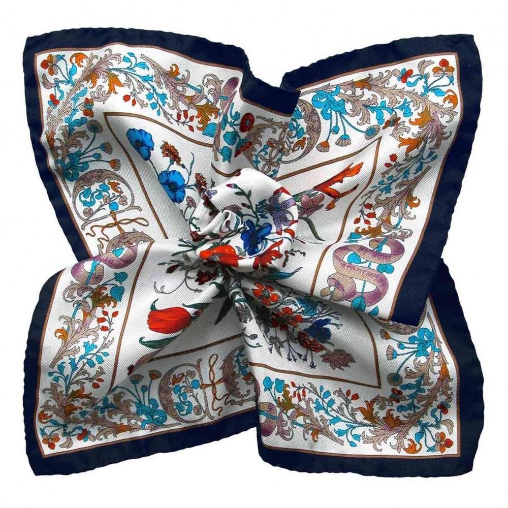 Pochette de costume Blanc, Marine et turquoise à motifs fleuris