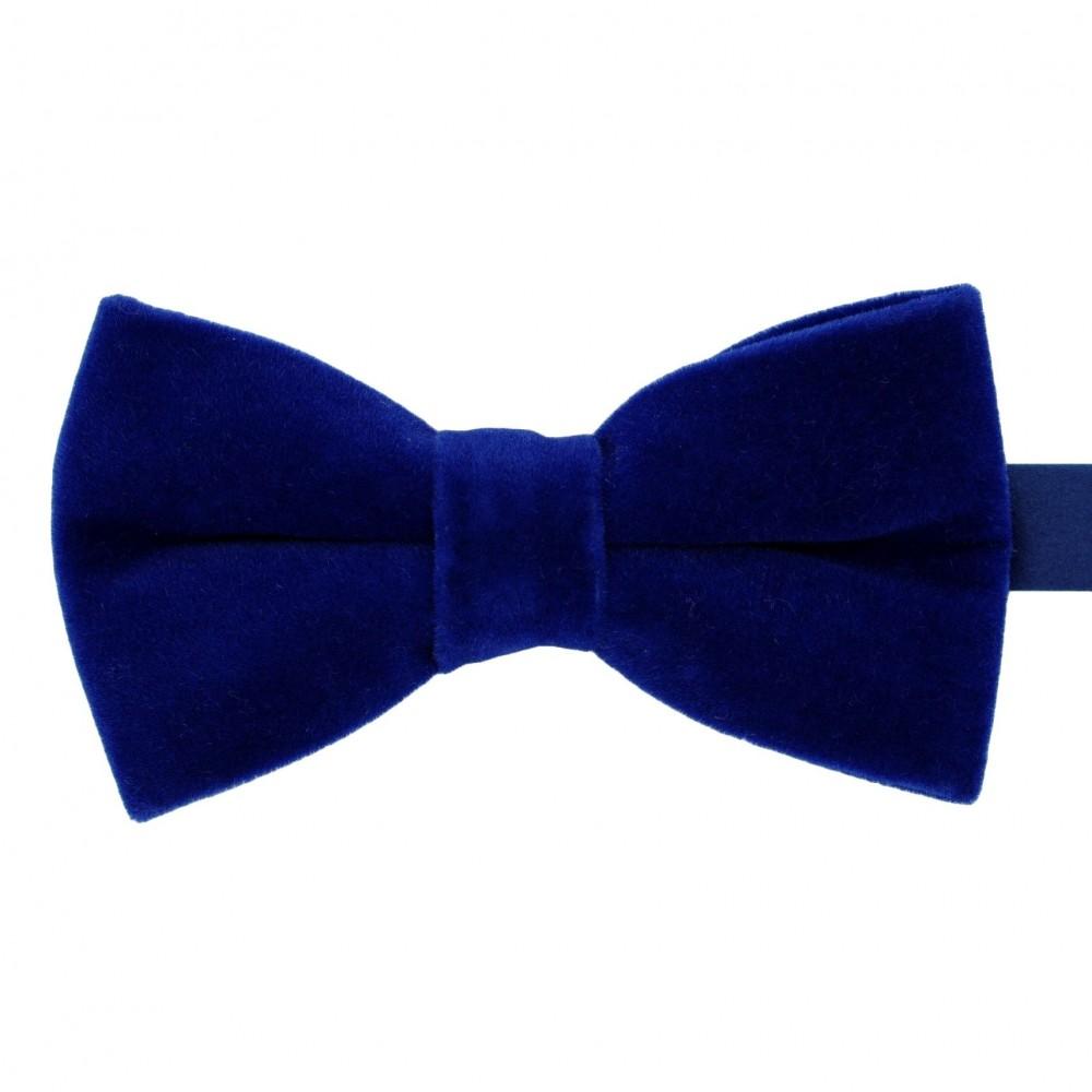 Noeud papillon homme en velours uni Bleu