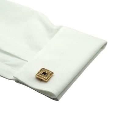 Boutons de manchette carrés à strass et pierre noire. Doré. Pour chemise mousquetaire homme.