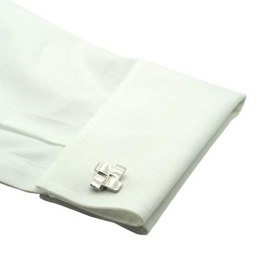 Boutons de manchette carrés design. Métal. Pour chemise mousquetaire homme.