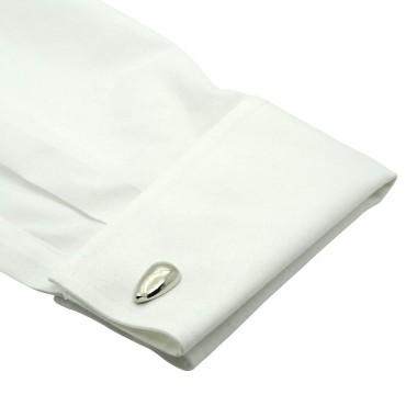 Boutons de manchette style goutte d'eau. Métal. Pour chemise mousquetaire homme.