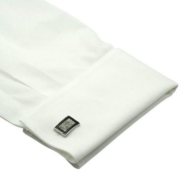 Boutons de manchette rectangulaires noir et strass. Métal. Pour chemise mousquetaire homme.