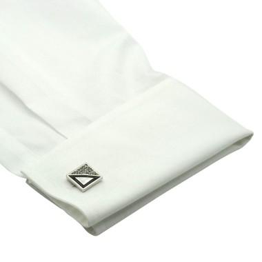 Boutons de manchette carrés noir et strass. Métal. Pour chemise mousquetaire homme.