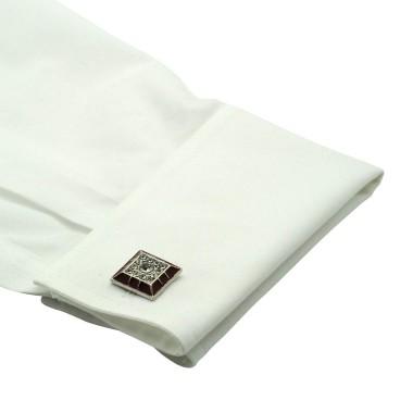 Boutons de manchette carrés bordeaux et strass. Métal. Pour chemise mousquetaire homme.