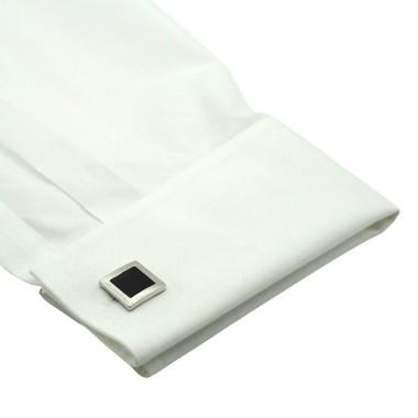 Boutons de manchette carrés noirs à contour. Métal. Pour chemise mousquetaire homme.