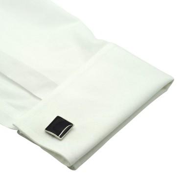 Boutons de manchette carrés noirs. Métal. Pour chemise mousquetaire homme.