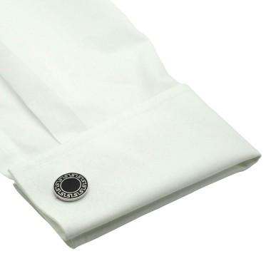 Boutons de manchette ronds noirs avec motifs. Métal. Pour chemise mousquetaire homme.