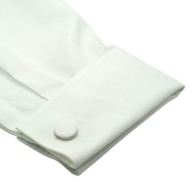 Boutons de manchette ronds blancs. Métal. Pour chemise mousquetaire homme.