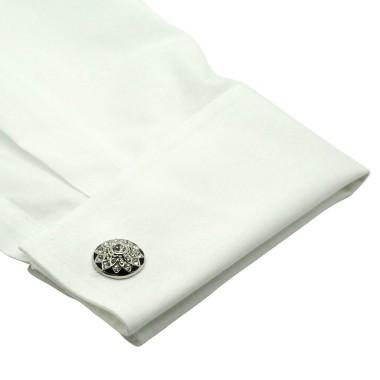 Boutons de manchette ronds à strass motif fleurs. Métal. Pour chemise mousquetaire homme.