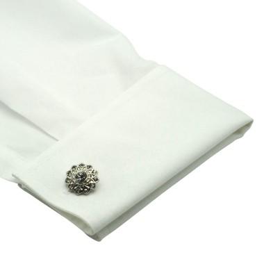 Boutons de manchette fleurs en strass. Métal. Pour chemise mousquetaire homme.