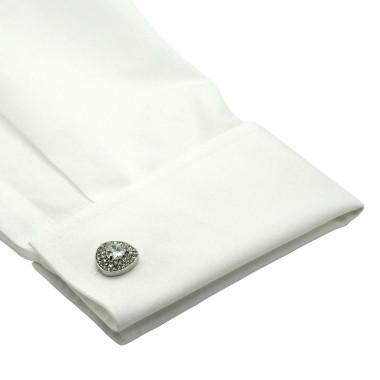 Boutons de manchette triangles arrondis à strass. Métal. Pour chemise mousquetaire homme.