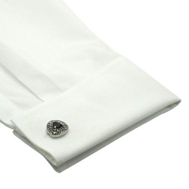 Boutons de manchette triangles arrondis à strass et pierre noire. Métal. Pour chemise mousquetaire homme.